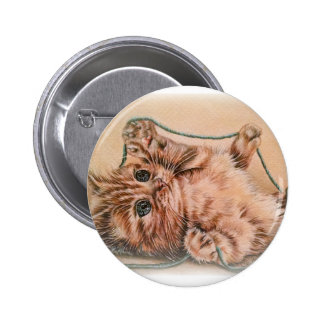 Kitten with Yarn drawing, pet cat art illustration 2 Inch Round Button