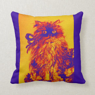 KITTEN WITH YELLOW BLUE ROSES THROW PILLOW