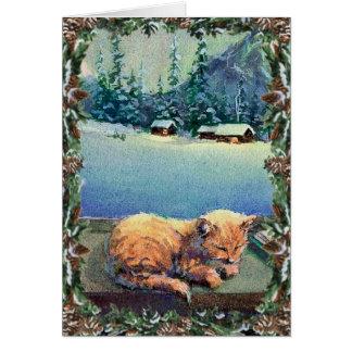 KITTEN & WREATH by SHARON SHARPE Card