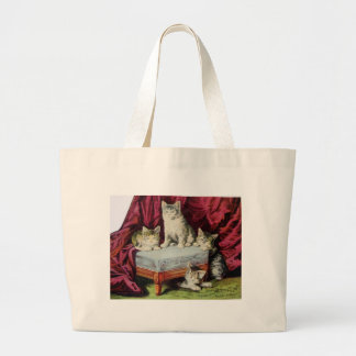 Kittens Advertising Hoods Sarsaparilla Vintage Art Large Tote Bag