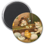 Kittens and Chicks Easter Greeting 2 Inch Round Magnet