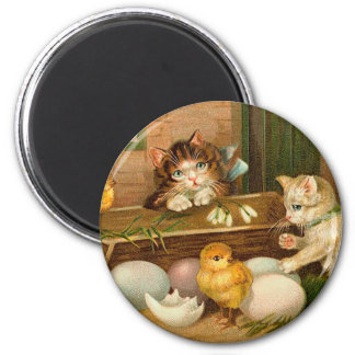 Kittens and Chicks Vintage Easter Greeting 2 Inch Round Magnet