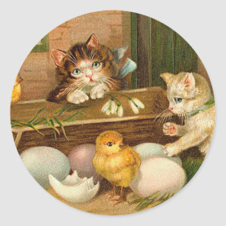 Kittens and Chicks Vintage Easter Greeting Classic Round Sticker