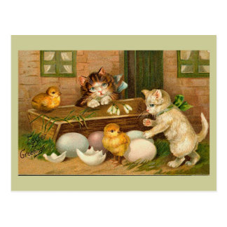Kittens and Chicks Vintage Easter Greeting Postcard