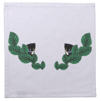 Kittens and Leaves (customizable) Cloth Napkin