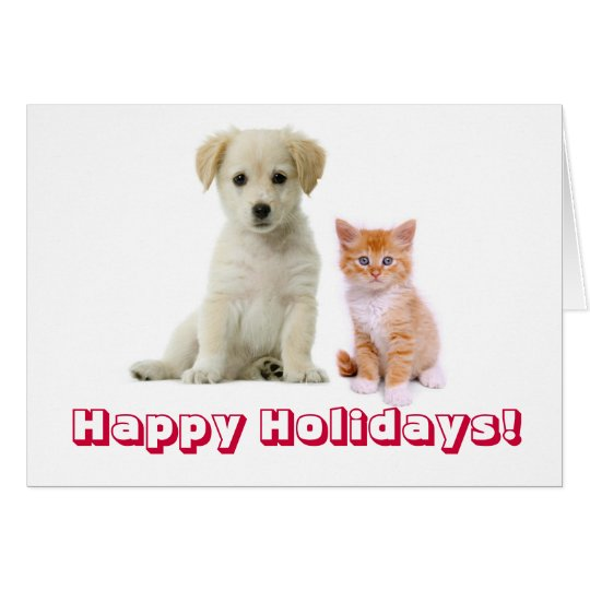 kittens and puppies, Happy Holidays! Card