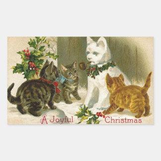 Kittens and Snowman Cat Rectangular Sticker