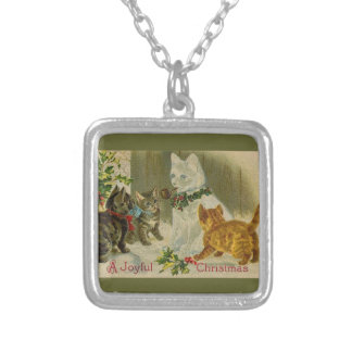 Kittens and Snowman Cat Square Pendant Necklace