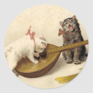 Kittens and the Mandolin Classic Round Sticker