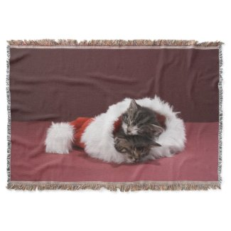 Kittens asleep together in Christmas hat Throw Blanket