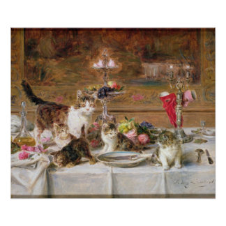 Kittens at a banquet, 19th century poster