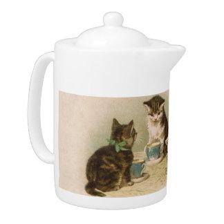 Kittens at a Tea Party Teapot