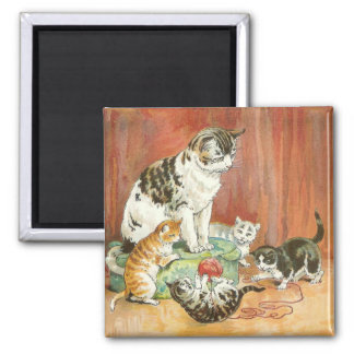 Kittens at play 2 inch square magnet
