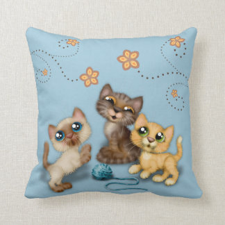Kittens at Play Blue Throw Pillow
