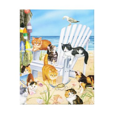 Beach Themed Kittens at the Beach Stretched Canva Canvas Print