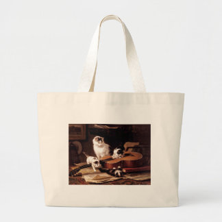 Kittens cat playing with guitar naughty cute bags