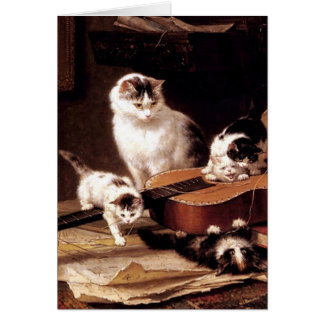 Kittens cat playing with guitar naughty cute card