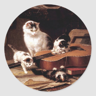 Kittens cat playing with guitar naughty cute classic round sticker