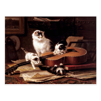 Kittens cat playing with guitar naughty cute postcards
