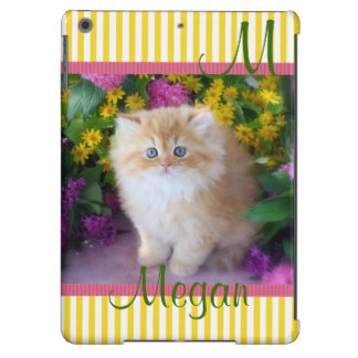 Kittens Cats Personalize Yellow Stripes iPad Air Covers
