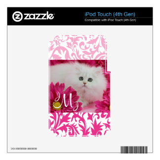 Kittens, Cats, Pink, Flowers, Monogram iPod Touch 4G Skin