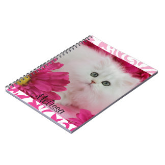 Kittens Cats Pink Flowers Monogram Spiral Note Books