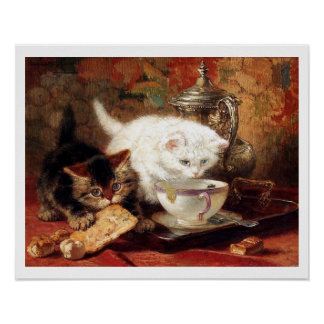 Kittens eating toast poster