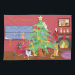 """Kittens&#39; First Christmas Kitchen Towel<br><div class=""""desc"""">A cat and her eight kittens are excited for Christmas! Enjoy this festive design on multiple products including shirts,  ornaments,  holiday decor,  mugs,  and more! This design can be customized or personalized by adding your own text or images!</div>"""