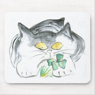 Kitten's Four Leaf Clover Mousepads