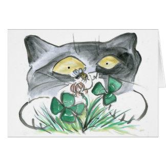 Kitten's Four Leaf Clover wit Bee Buzzin' Card