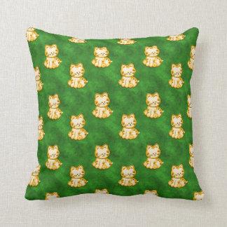 Kittens Gold, Velvet Green American MoJo Pillow