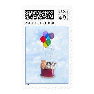 Kittens Hot Air Balloon Postage Stamp