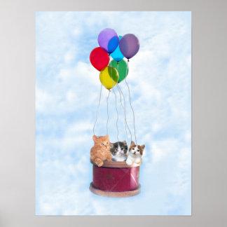 Kittens Hot Air Balloon Print