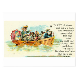 Kittens in a Row Boat Postcard