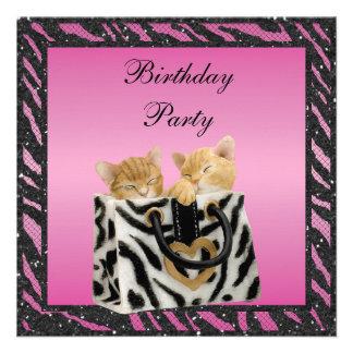 Kittens in Bag Zebra Print Faux Glitter Birthday Announcements