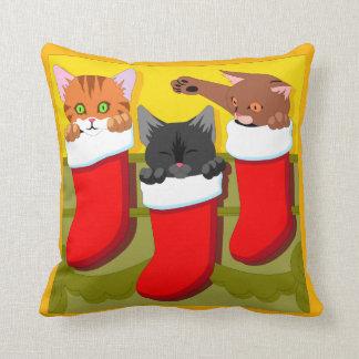 Kittens In Christmas Stockings Throw Pillow