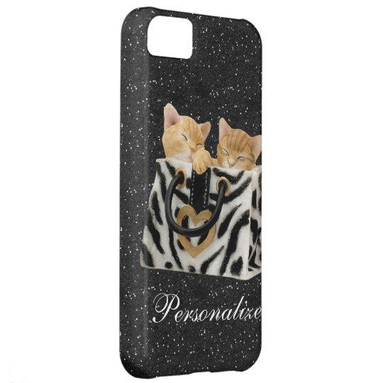 Kittens in Handbag Black Glitter iPhone 5 Case