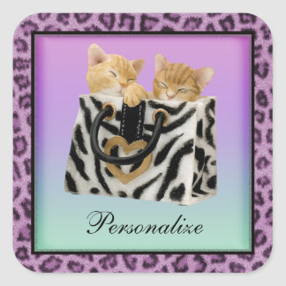 Kittens in Handbag Purple Leopard Print Stickers