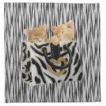 Kittens in Handbag Tiger Print Napkins