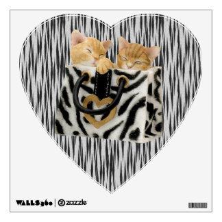 Kittens in Handbag Tiger Print Wall Decal
