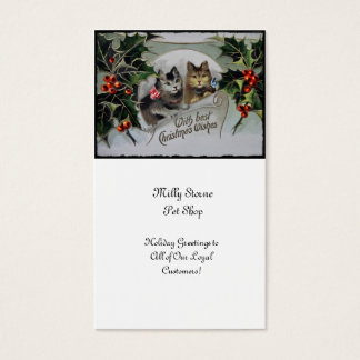 Kittens in Holly Christmas Business Card