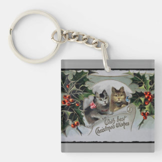 Kittens in Holly Christmas Double-Sided Square Acrylic Keychain