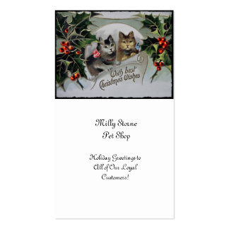 Kittens in Holly Christmas Double-Sided Standard Business Cards (Pack Of 100)