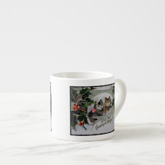 Kittens in Holly Christmas Espresso Cup