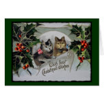 Kittens in Holly Christmas Greeting Card