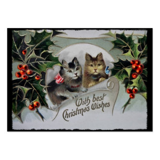Kittens in Holly Christmas Large Business Cards (Pack Of 100)