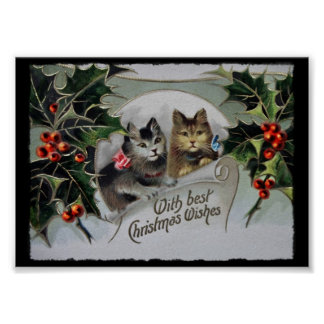 Kittens in Holly Christmas Poster