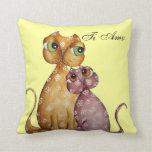 Kittens in Love Throw Pillow