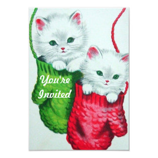 Kittens in Mittens Merry Christmas Personalized Invitation