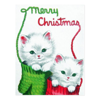 Kittens in Mittens Merry Christmas Postcard